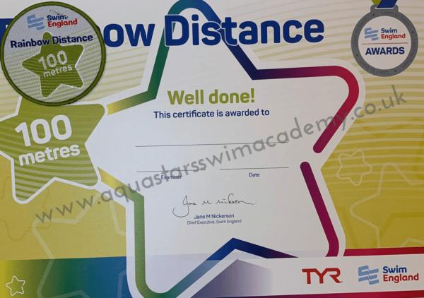 '100m' Rainbow Distance Certificate & Badge 1