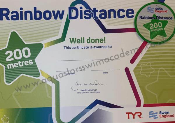 '200m' Rainbow Distance Certificate & Badge 1