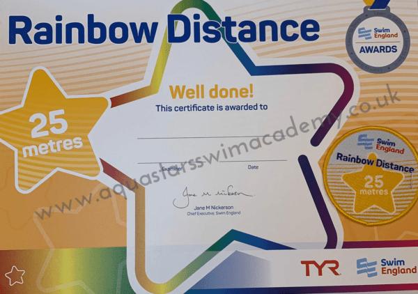 '25m' Rainbow Distance Certificate & Badge 1
