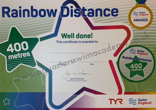 '400m' Rainbow Distance Certificate & Badge 1