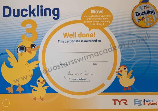 'Duckling 3' Certificate & Badge 1